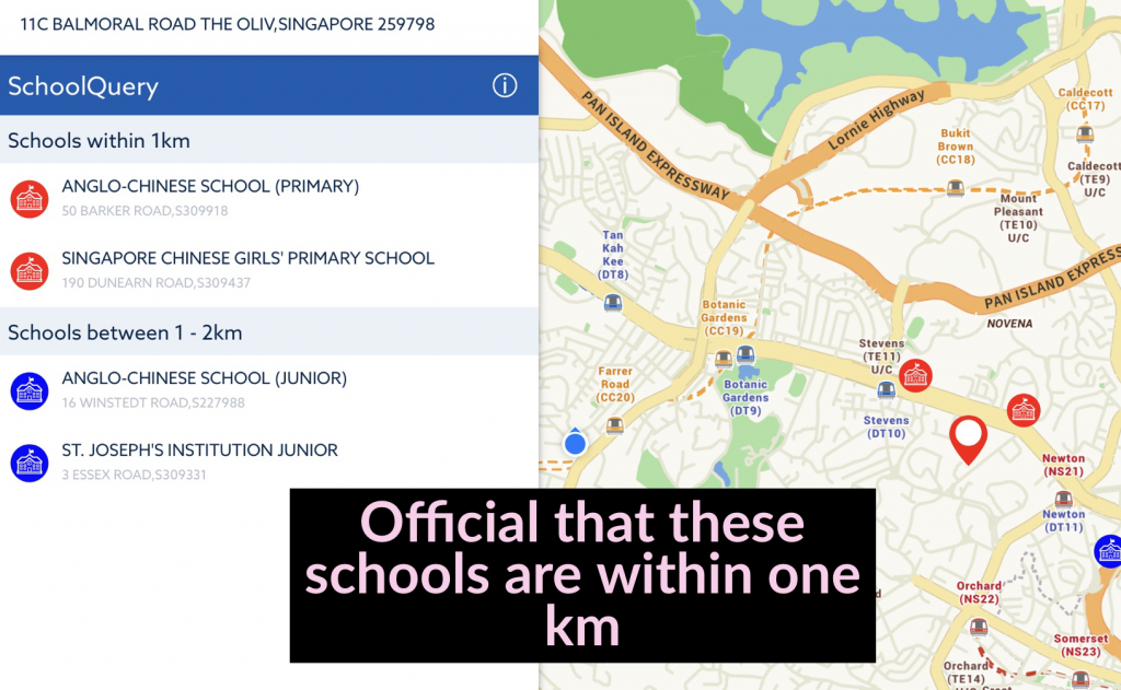 What are the schools within 1 km of the Hyde